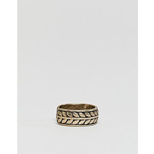 premium band ring with engraved pattern - gold marki Icon brand
