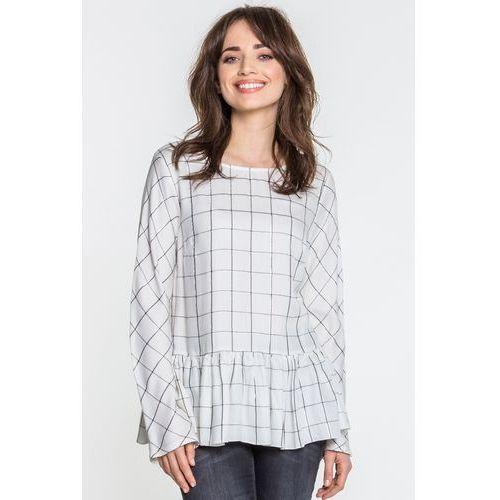 Biała bluzka w kratę - Margo Collection, 1 rozmiar