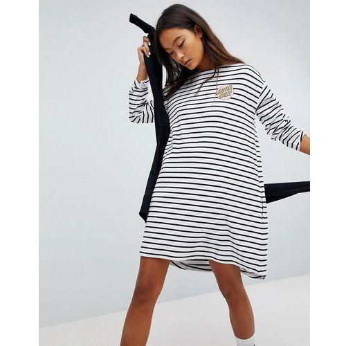 Santa Cruz Long Sleeve Dress With Logo In Stripe - White