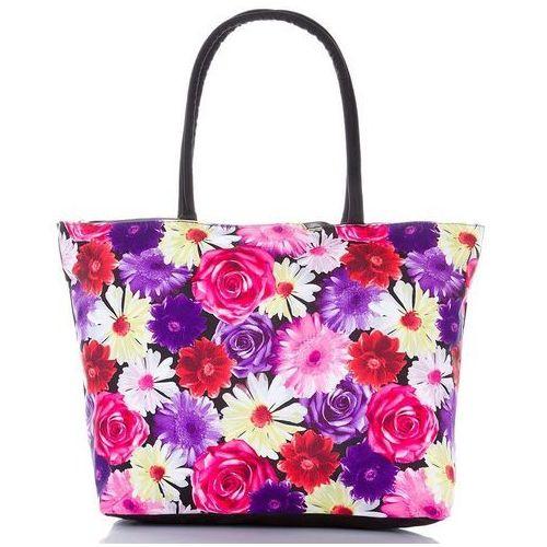 Torba plażowa damska kolorowe kwiaty - czarny ||fioletowy ||różowy ||czerwony ||biały ||żółty ||wielokolorowy ||wielobarwny, kolor czarny