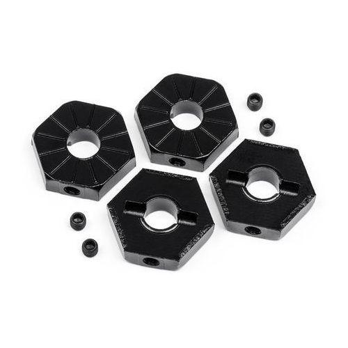 17MM HEX WHEEL ADAPTOR W/ SET SCREWS 4PCS (BLACK)