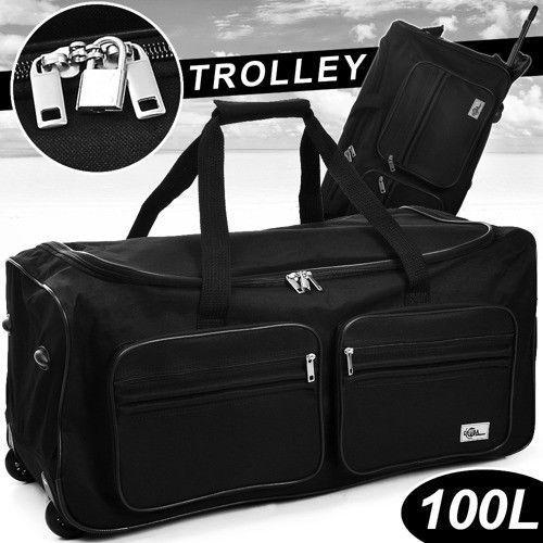 Duża czarna walizka podróżna na kółkach 100 litrów, marki Wideshop