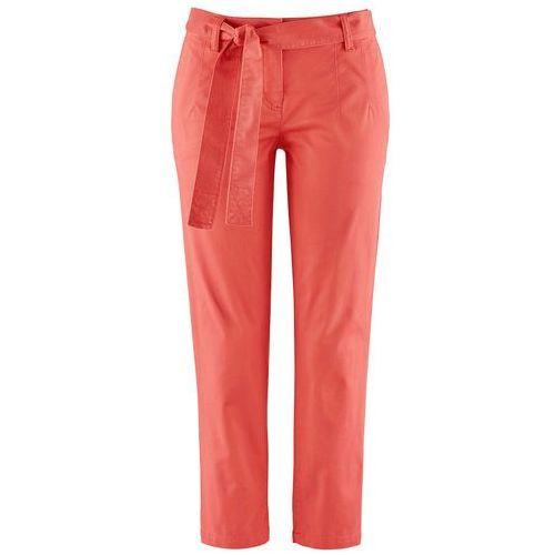Bonprix Spodnie ze stretchem 7/8 z wiązanym paskiem koralowy
