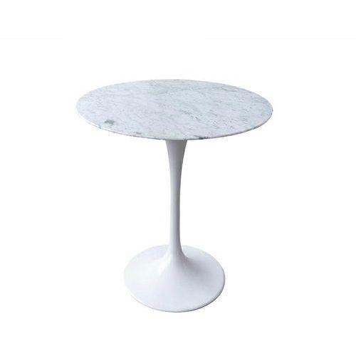 King home Stolik tulip marble mini biały - blat okrągły marmurowy, metal