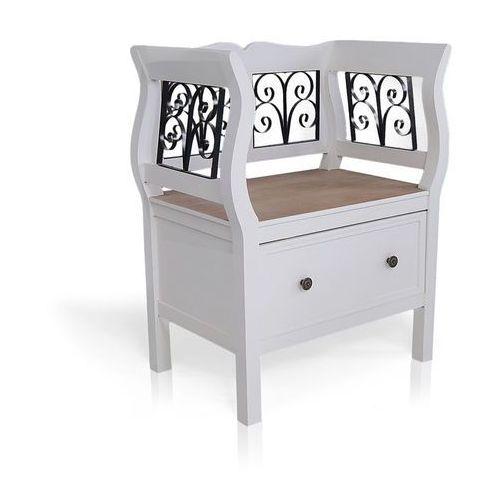 Ławka z metalowymi zdobieniami, szuflada, seria provance, matowa biel, naturalne drewno. marki Design by impresje24