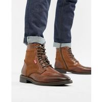Levis Levi's whitfield leather boot with suede detail in medium brown - brown