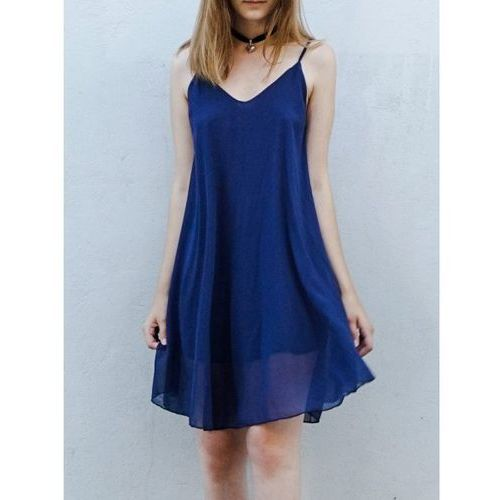Casual Style Spaghetti Strap Sleeveless Chiffon Dress For Women