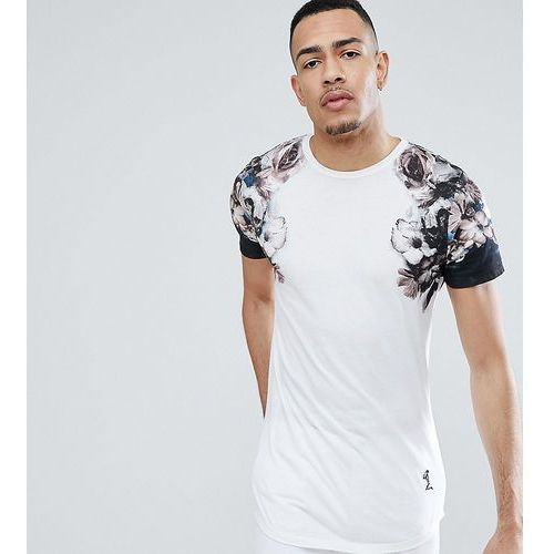 tall longline t-shirt with faded print sleeves - white marki Religion