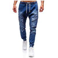 Spodnie jeansowe joggery męskie niebieskie Denley 2048, jeans