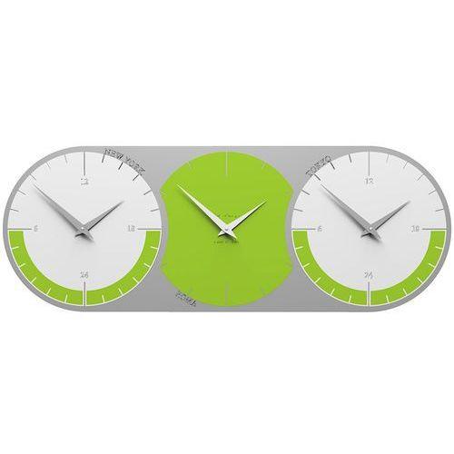 Zegar ścienny - 3 strefy czasowe World Clock CalleaDesign zielony / biały (12-010-76), kolor zielony