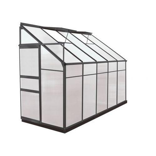 Vente-unique Szklarnia ogrodowa z poliwęglanu dostawiana do budynku o pow. 3,7 m² calice ii z podstawą - antracytowa