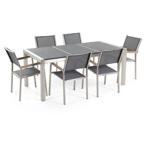 Zestaw ogrodowy kamienny blat 180 cm 6-osobowy szare krzesła grosseto marki Beliani