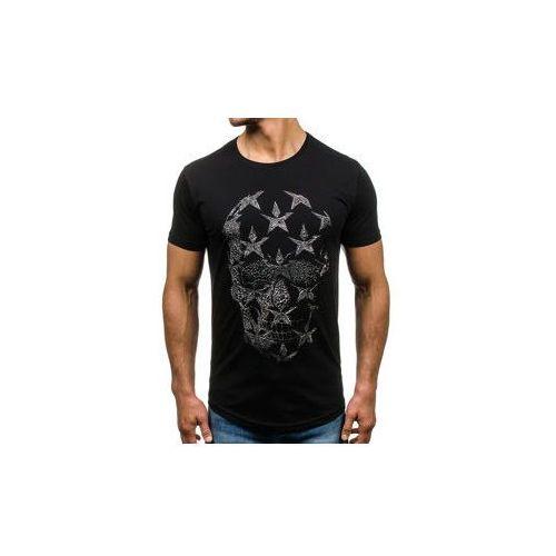 Breezy T-shirt męski z nadrukiem czarny denley 301