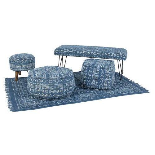 Qazqa Zestaw 5 elementów varanasi seria niebieska - 2 pufy, taboret, lawka, dywan