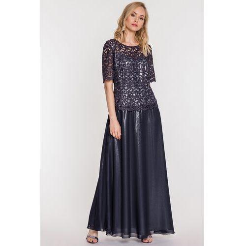Potis & verso Granatowa suknia z gipiurą -