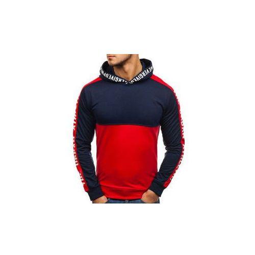 Bluza męska z kapturem z nadrukiem czerwono-granatowa Denley HY202, kolor czerwony