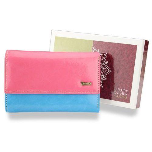 cf8c5e81c6502 Peterson portfel damski skórzany mały różowoniebieski pl454 - różowy +  niebieski
