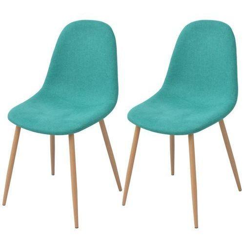 Krzesło do jadalni 2 szt., zielona tkanina