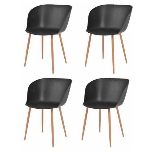 Komplet 4 krzeseł, czarne, plastikowe siedziska i stalowe nogi, kolor czarny