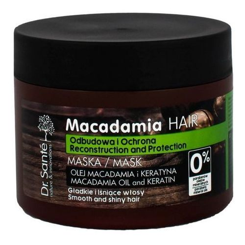 macadamia kremowa maseczka włosy słabe (macademia oil and keratin, reconstruction and protection) 300 ml marki Dr. santé
