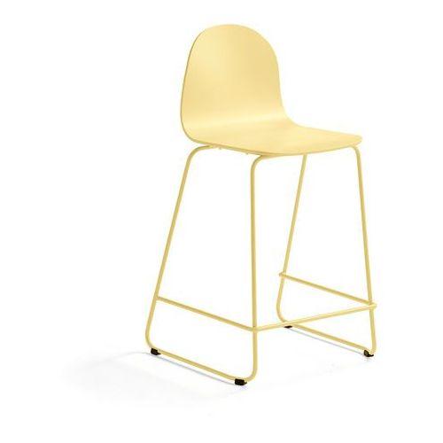 Krzesło barowe gander, płozy, siedzisko 630 mm, lakierowany, musztardowy marki Aj produkty