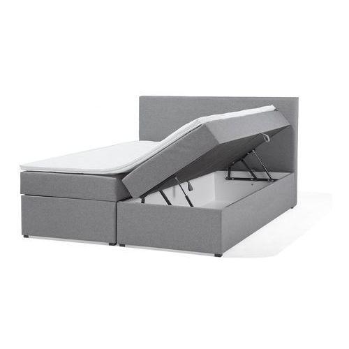 Łóżko kontynentalne z pojemnikami tapicerowane 160 x 200 cm szare SENATOR (4260602379171)