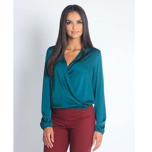 Zielona elegancka połyskująca bluzka kopertowa marki Dursi