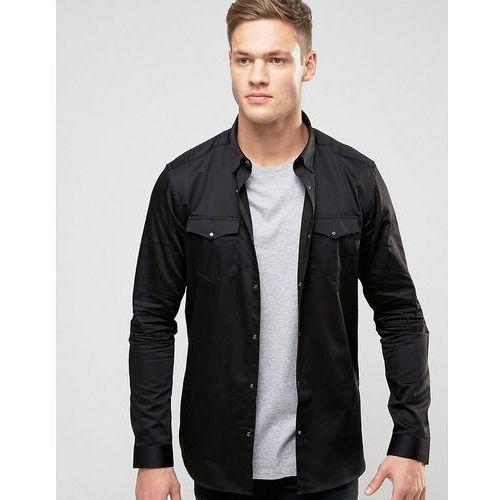 New look  smart western shirt in black in regular fit - black