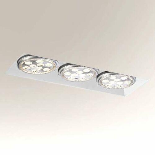 Oczko LAMPA sufitowa YATOMI 7366 Shilo prostokątna OPRAWA podtynkowa WPUST regulowany listwa metalowa biała (5903689973663)