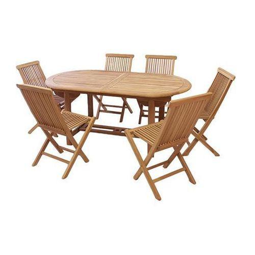 Komplet 6 x składane krzesła 1 x stół DIVERO z drewna tekowego