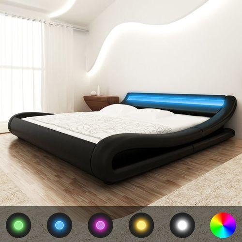 vidaXL Rama łóżka z oświetleniem LED 140x200 cm sztuczna skóra czarne (8718475975243)
