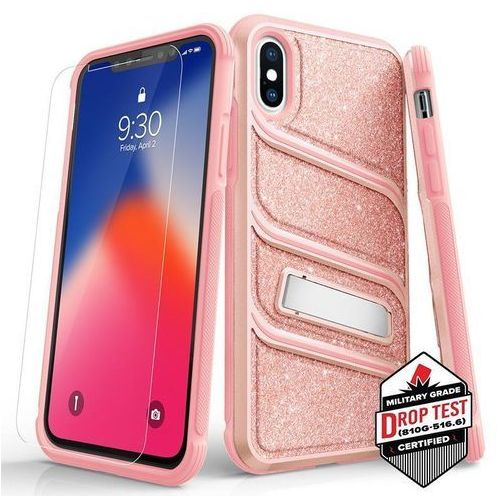 Etui Zizo Bolt-X Cover do iPhone XS/X + Szkło Hartowane 9H Pink, kolor różowy
