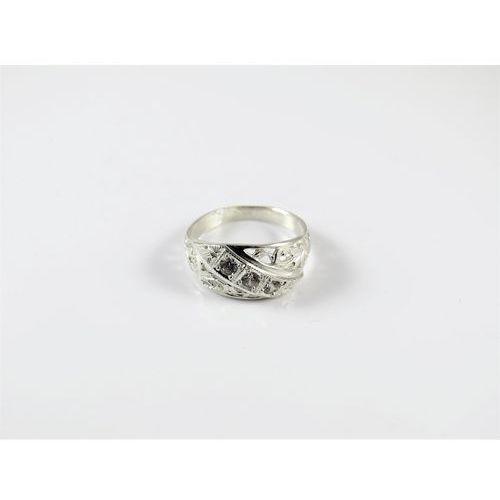 Srebrny pierścionek 925 BIAŁE CYRKONIE r. 13