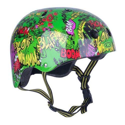Dziecięcy kask rowerowy freestyle komik, zielony, s (52-55) marki Worker