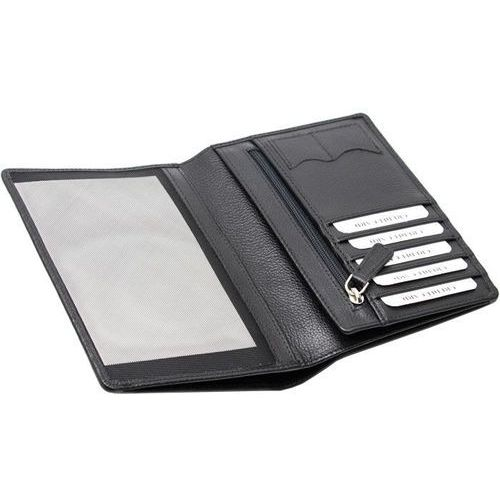 ✅ skórzany portfel na paszport biometryczny oraz karty zbliżeniowe (czarny) - czarny mat marki Koruma®