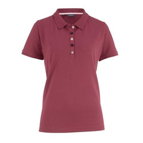 Shirt polo z bawełny pique bonprix bordowy, kolor czerwony