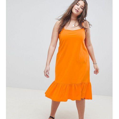 ASOS DESIGN Curve square neck drop hem midi sundress - Orange, kolor pomarańczowy