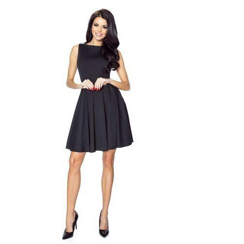 Czarna Elegancka Sukienka Koktajlowa z Rozkloszowanym Dołem, koktajlowa