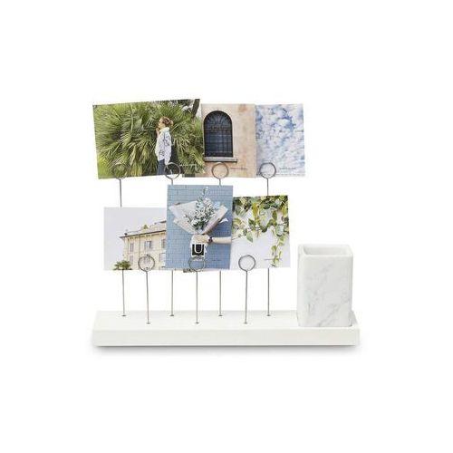 Umbra - stojący uchwyt na zdjęcia gala- orzech włoski - biały