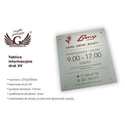 Tablica informacyjna - laminat grawerski gr. 4,6mm - wym. 275x250mm - druk uv - szuv004 marki Grawernia.pl - grawerowanie i wycinanie laserem
