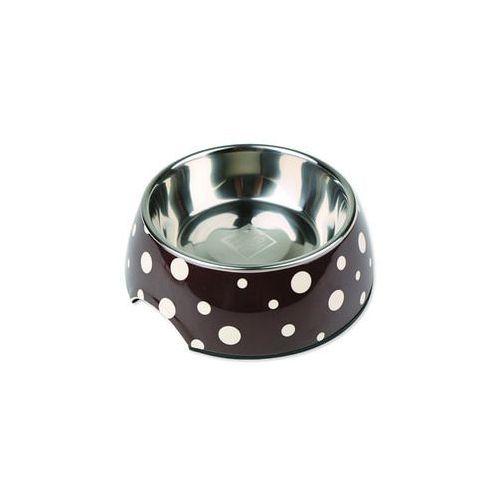 Plaček Miska dog fantasy stal nierdzewna okrągła brązowa + białe kropki 27 cm 1400ml (8595091778669)