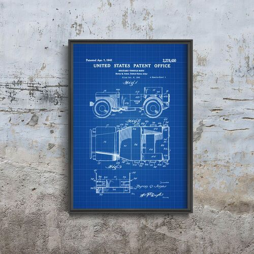 Plakatyw stylu retro plakatyw stylu retro willys military jeep patent patent automobile us army marki Vintageposteria.pl