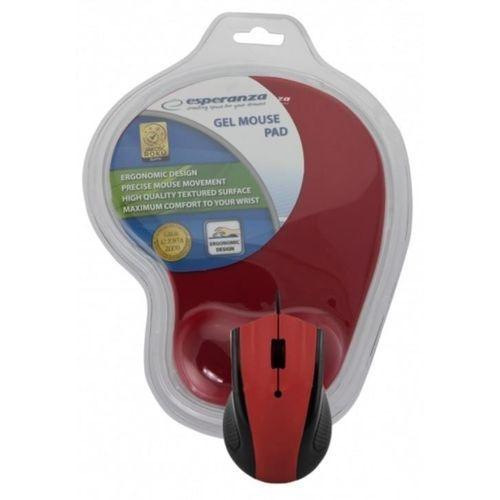 Mysz przewodowa z podkładką żelową Czerwona Esperanza EM125R, EM125R