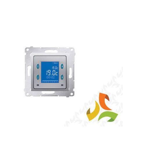 Termostat elektroniczny srebrny mat, z programatorem i wyświetlaczem oraz z wewnętrznym czujnikiem temperatury D75817.01/43 SIMON 54 PREMIUM, D75817.01/43/KON
