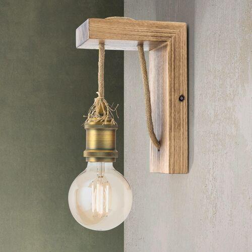 Lampa ścienna Bassena z jasnego prawdziwego drewna