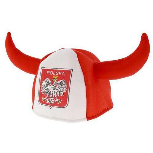 Czapka kibica z rogami biało - czerwoni - 1 szt. marki Go