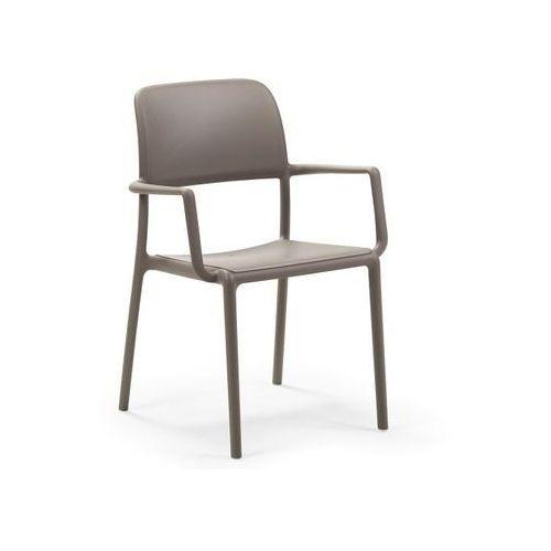 Krzesło Riva z podłokietnikami beżowe, kolor beżowy