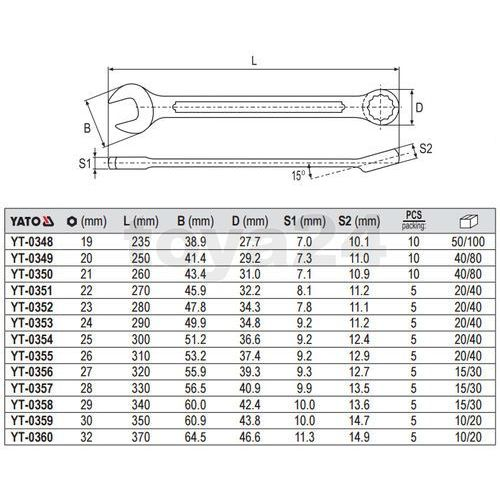 Klucz płasko-oczkowy z polerowaną główką 26 mm Yato YT-0355 - ZYSKAJ RABAT 30 ZŁ (5906083903557)