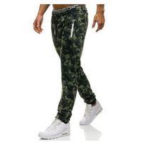 Spodnie męskie dresowe joggery zielone denley w1357, Red fireball