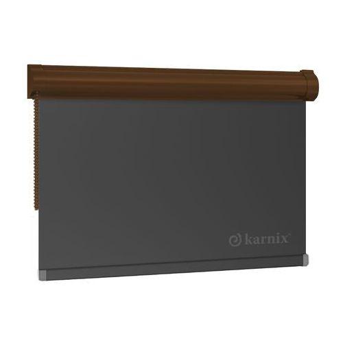 Mini roleta w kasecie blackout (100% zaciemniająca) - graphit / brązowy marki Karnix